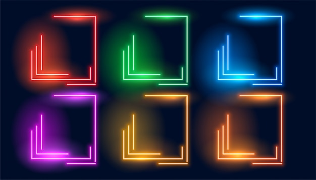Set of six neon colorful geometric empty frames Free Vector