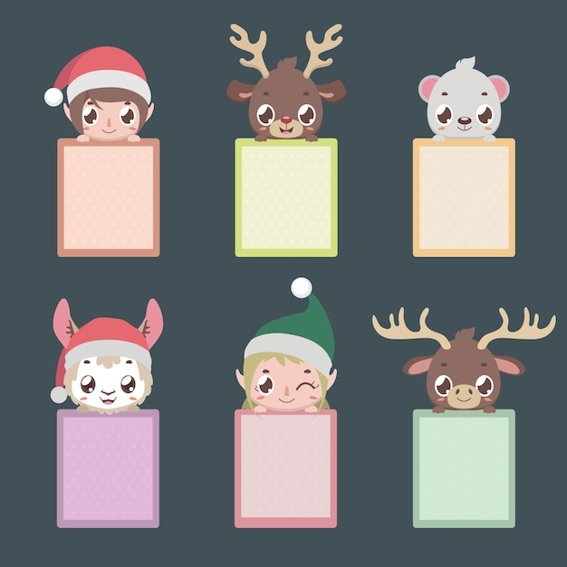 Set of six notepads with christmas characters Premium Vector