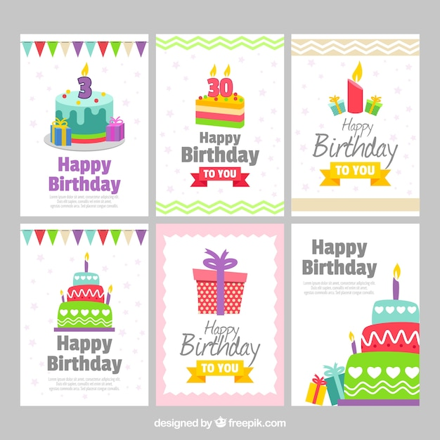 Set of six pretty birthday cards Free Vector