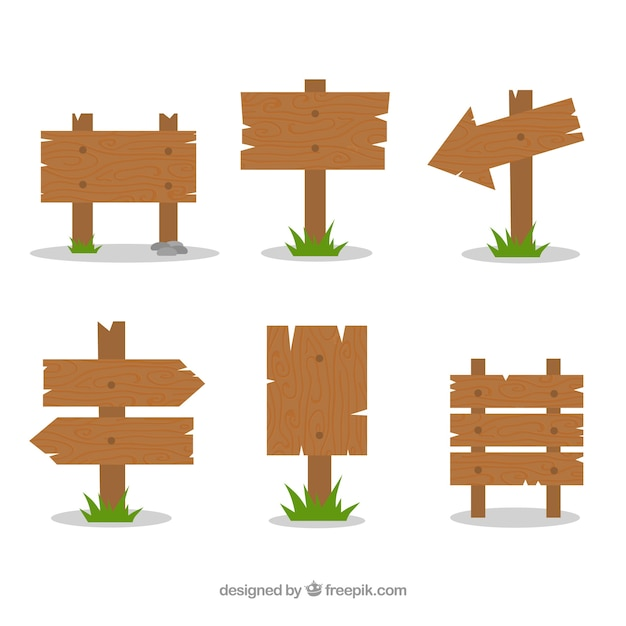 Set of six wooden signs in flat design Free Vector