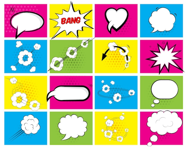Set of sixteen different brightly colored vector speech bubbles with an oval Free Vector