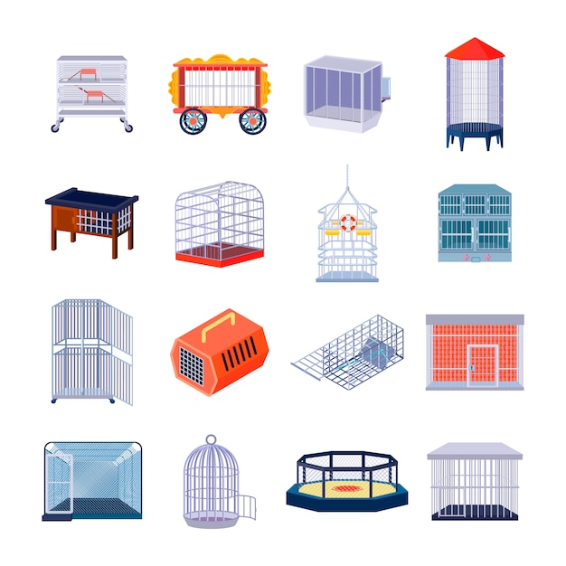 Set of sixteen isolated empty animal cage fighting ring and prison retro images with metal bar Free Vector