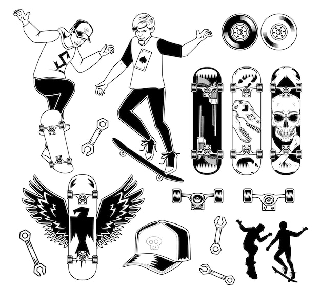 Insieme di elementi di skateboard Vettore gratuito
