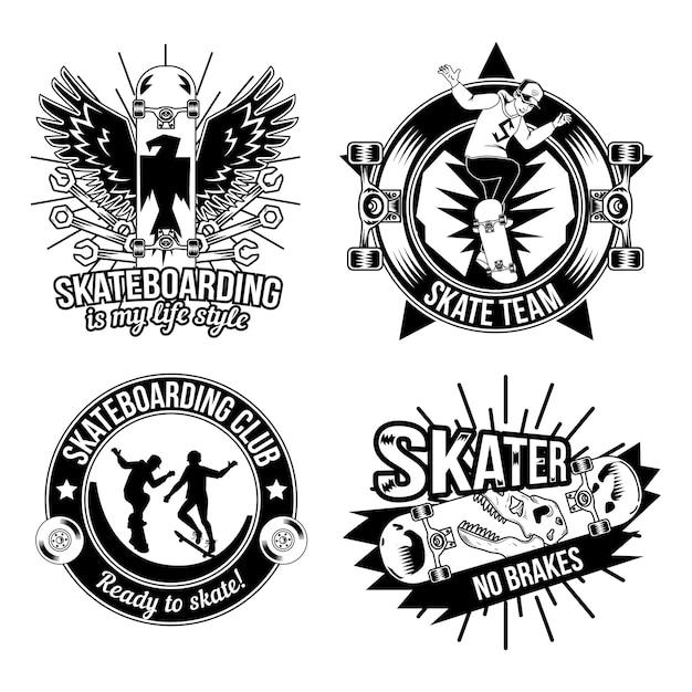 Set di emblemi di skateboard, loghi. isolato su bianco Vettore gratuito