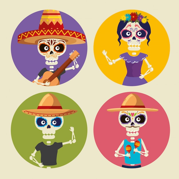 Set skeletons wearing hat and catrina to celebrate event Free Vector