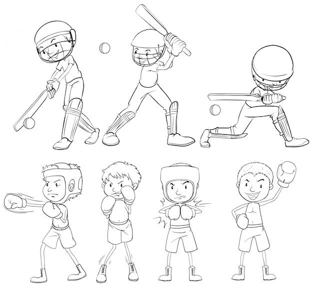 Set of sketch athlete Free Vector