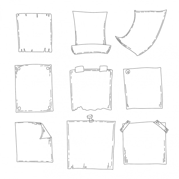 Set of sketch notebooks, notepads and diaries. office stuff. hand drawing sketch Premium Vector