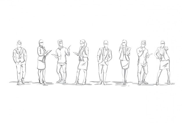 Set Of Sketch Silhouettes Of Businesspeople Figures
