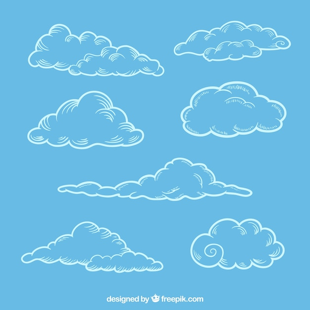 Set of sketches of fluffy clouds Free Vector