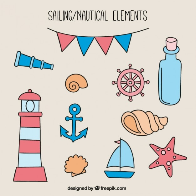 Set of sketches salor objects Premium Vector