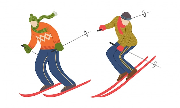 Set of skier character. man skiing. athlete on the downhill. vector Premium Vector