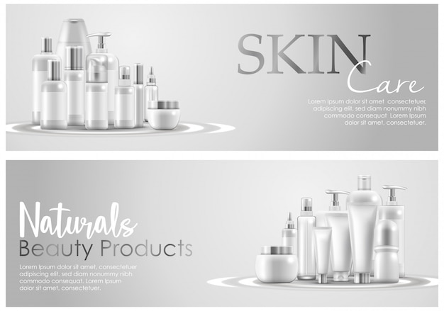 Set Of Skin Care Natural Beauty Product Packaging Banner Premium Vector