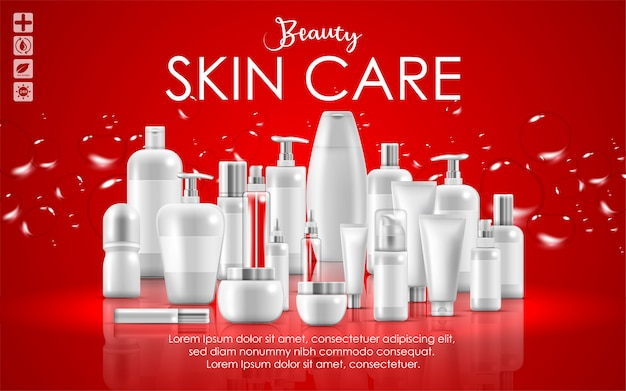 Set Of Skin Care Natural Beauty Product Packaging Banner