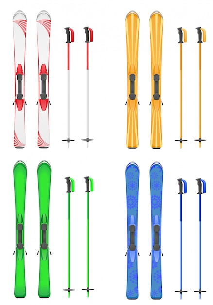 Set of skis mountain vector illustration Premium Vector