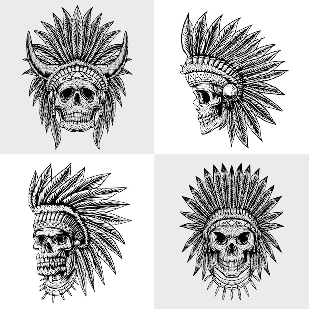 Set skull indian collection illustration Premium Vector