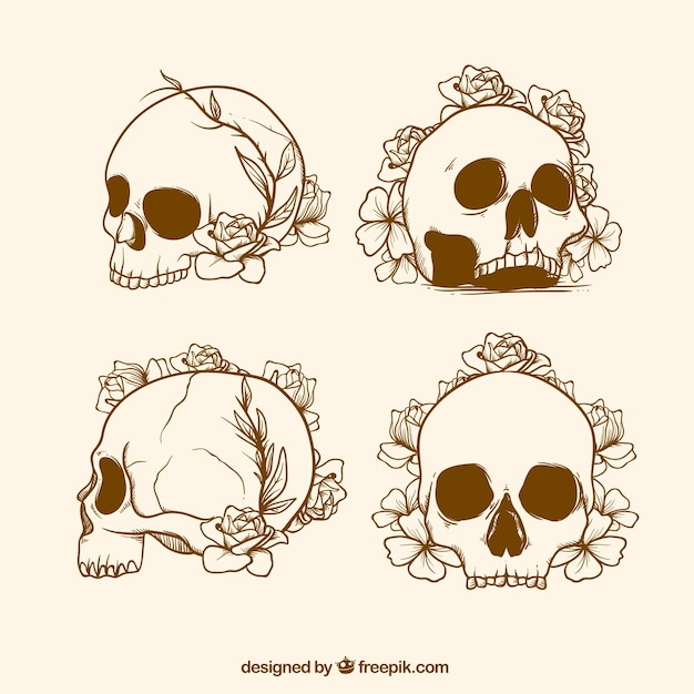 Set of skull sketches with flowers Free Vector