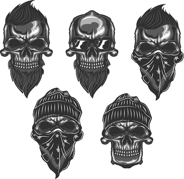 Set of skulls with beards, haircuts, glasses, hats and bandana. monochromatic. Premium Vector