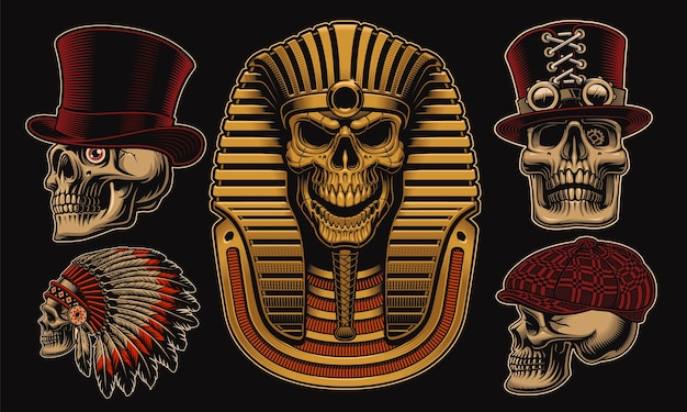 Set of skulls with different characters such as an egyptian pharaoh Premium Vector