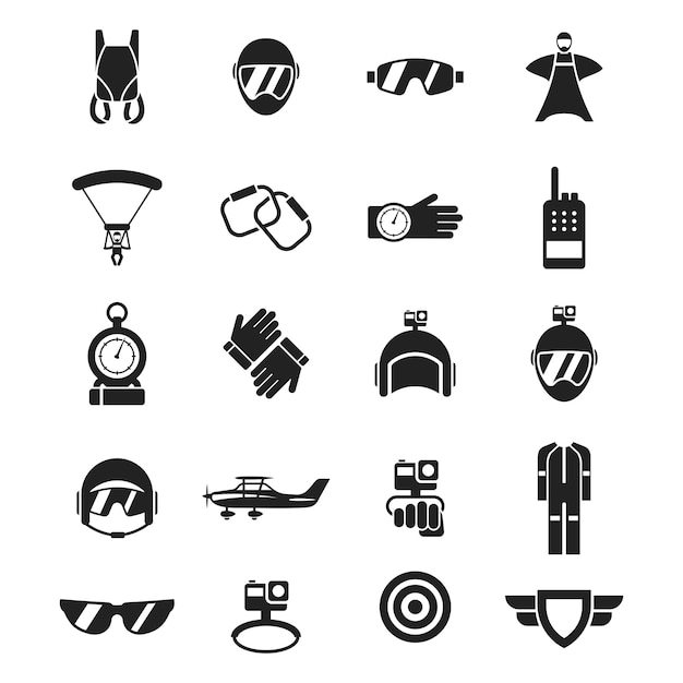 Set of sky diving icon Premium Vector