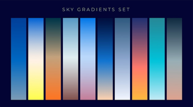 Set of sky gradients background Free Vector