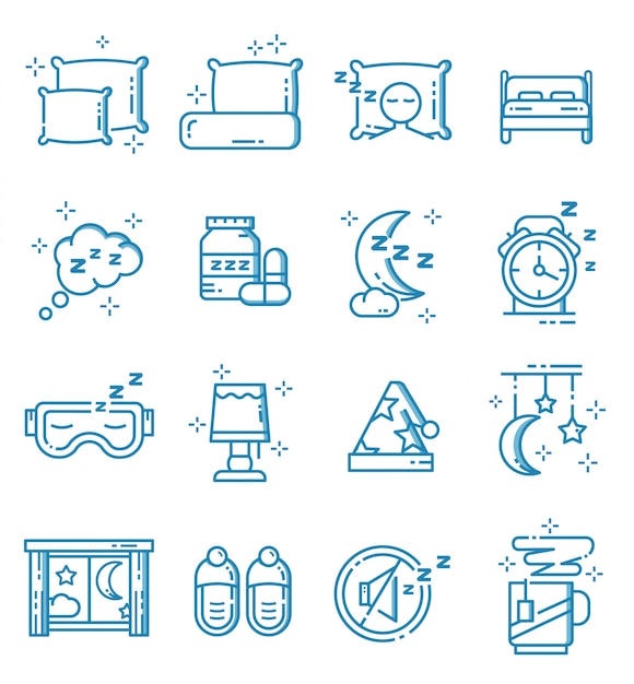 Set of sleep icons with outline style Premium Vector
