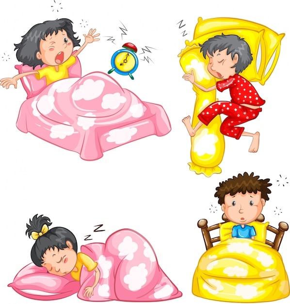 Set of sleeping kids Free Vector
