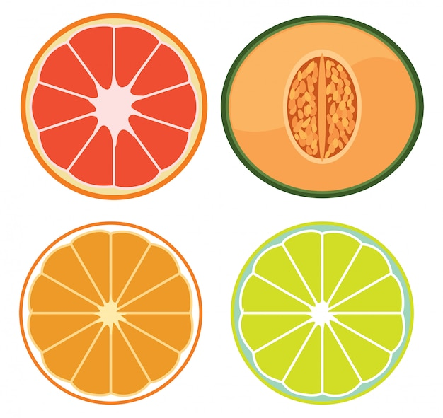 A set of sliced fruits Free Vector