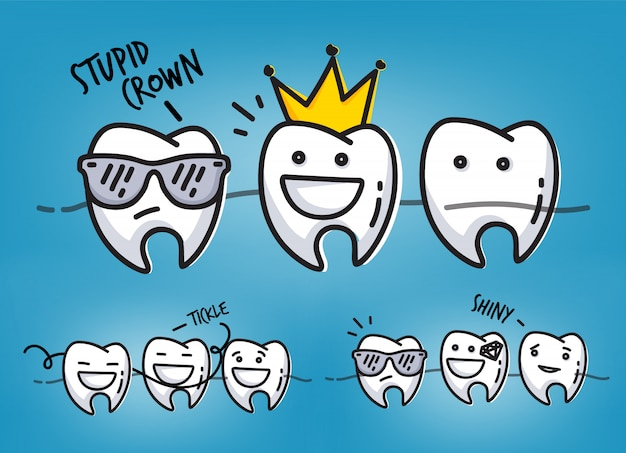 Set of small funny teeth characters scenes, drawing on light blue background. Premium Vector