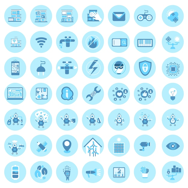 Set of smart house technology icons modern home control system Premium Vector