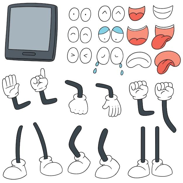 Set of smartphone cartoon Premium Vector