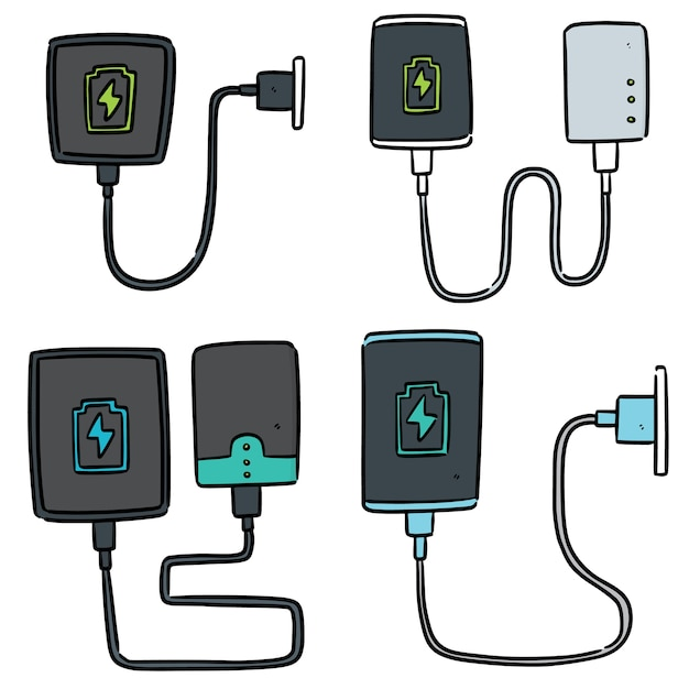 Set of smartphone charging Premium Vector