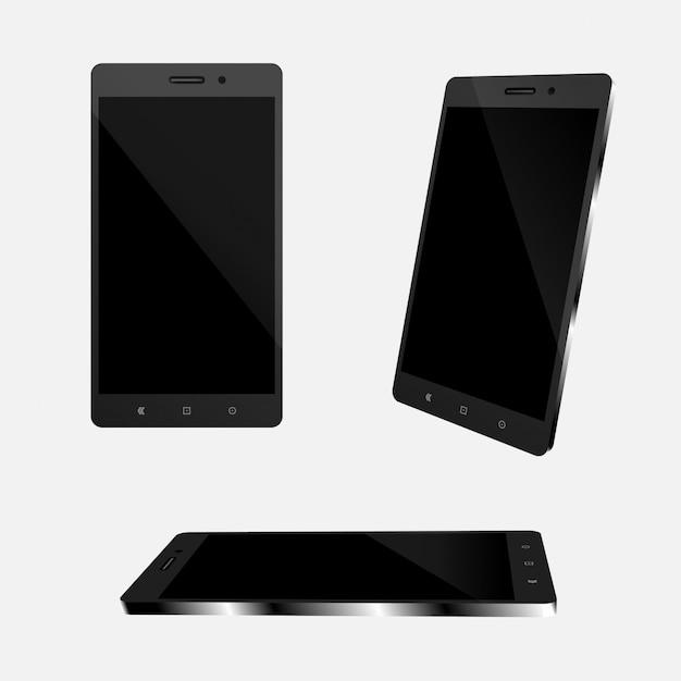 Set of smartphone realistic for vector illustration. Premium Vector