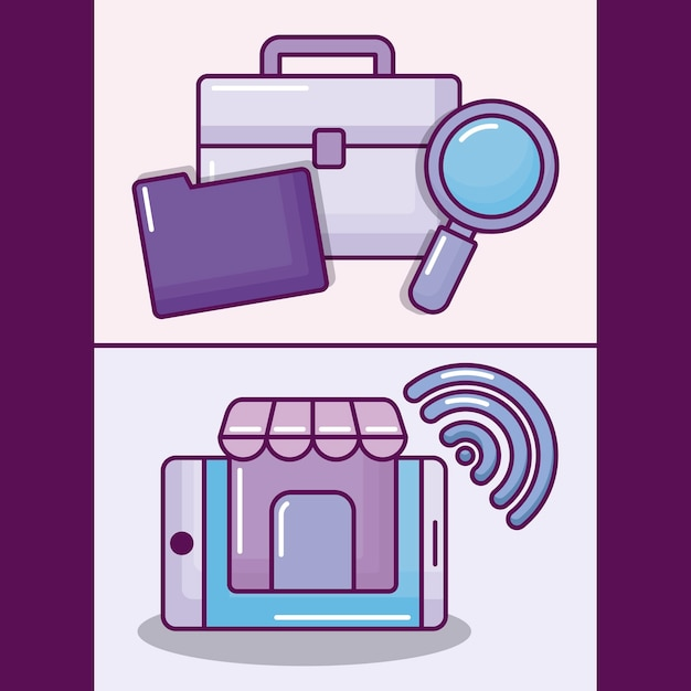 Set smartphone with electronic business icons Free Vector