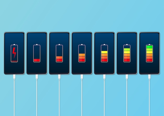 Set of smartphones with battery charge level indicators and with usb connection Premium Vector