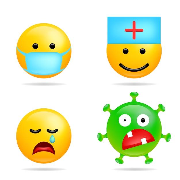 Set smile emoji coronavirus infection. face with medical mask. cartoon virus emoticons for social media chat comment.  illustration Premium Vector