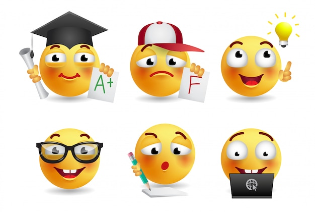 Set of smileys realistic illustration Free Vector