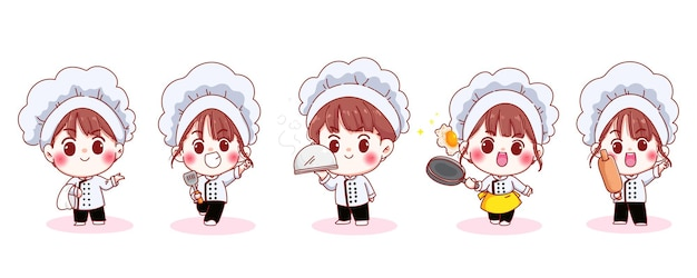 Set of smiling cute chef in different postures cartoon  illustration Free Vector