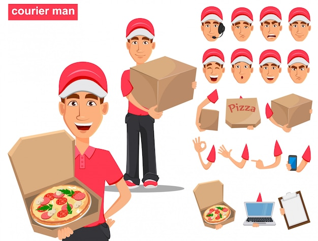 Set of smiling delivery man in red uniform Premium Vector