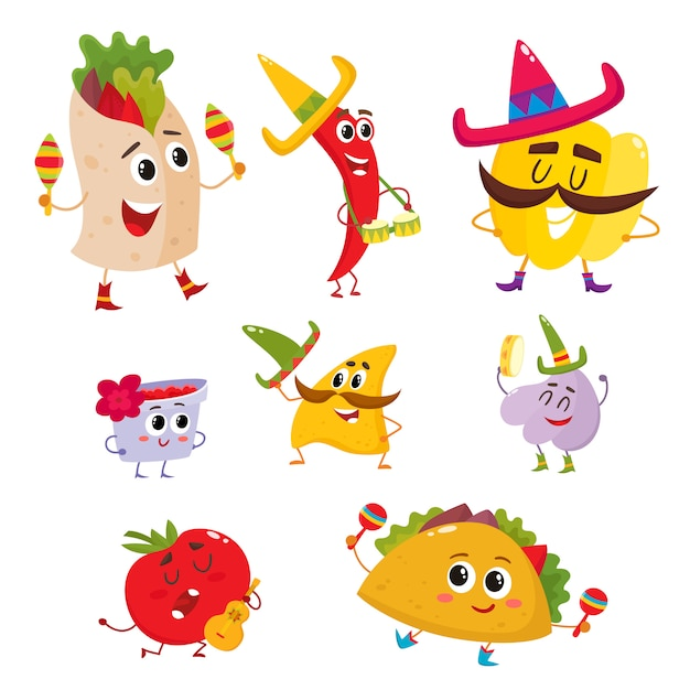 Set of smiling mexican food playing music and having fun Premium Vector