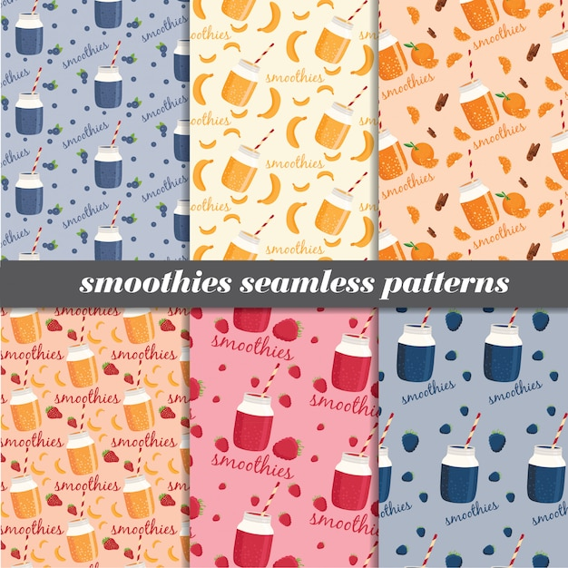 Set of smoothies seamless patterns. Premium Vector