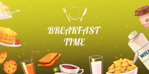 Set of snacks for breakfast on mustard background Free Vector