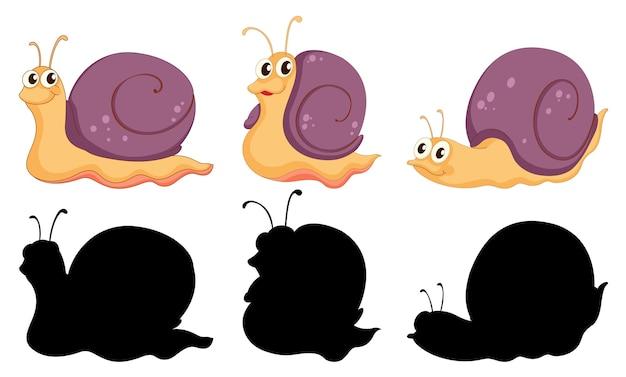 Set di personaggio dei cartoni animati di lumaca e la sua silhouette su sfondo bianco Vettore gratuito