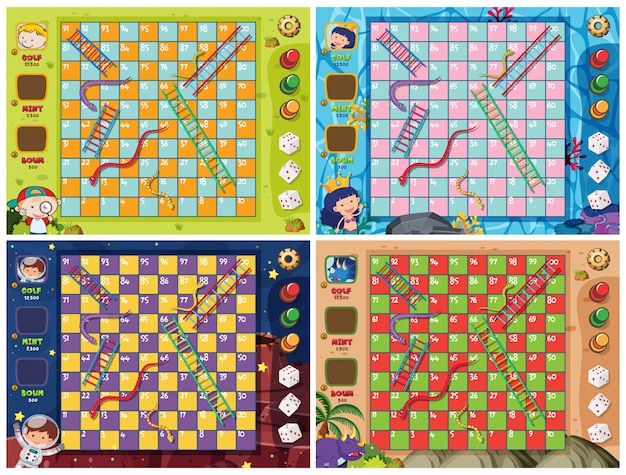 Set of snake ladder game template Premium Vector