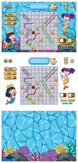 Set of snakes and ladders game with mermaid in ocean Premium Vector