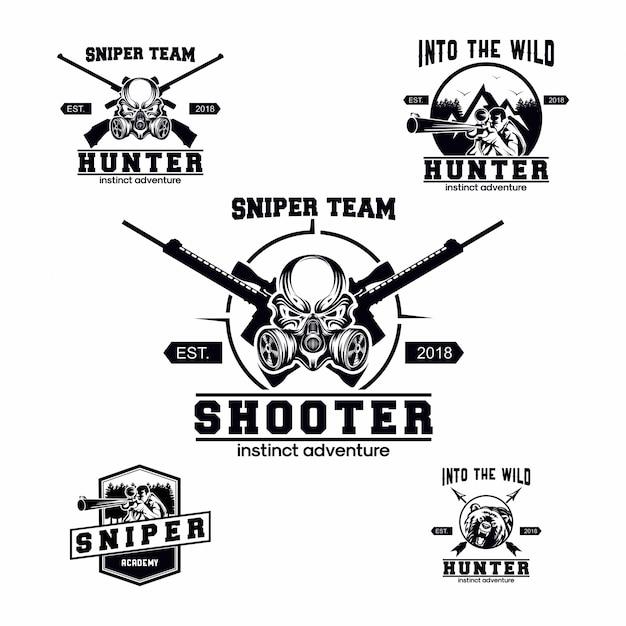Set of sniper logo Premium Vector
