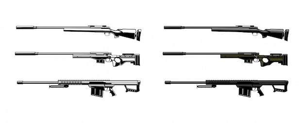 Set of sniper vector illustration Premium Vector