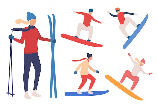 Set of snowboarders and skier Free Vector