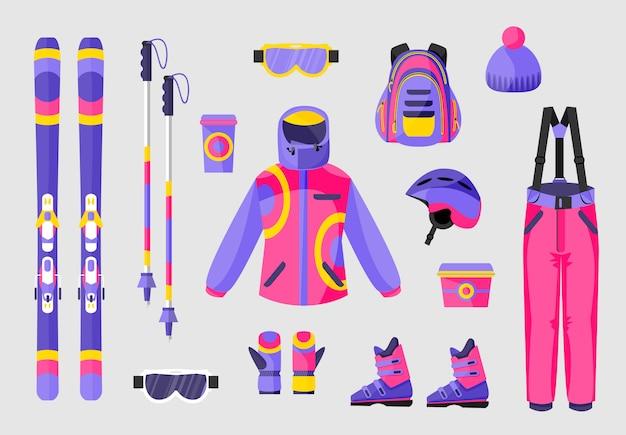 Set of snowboarding equipment Premium Vector