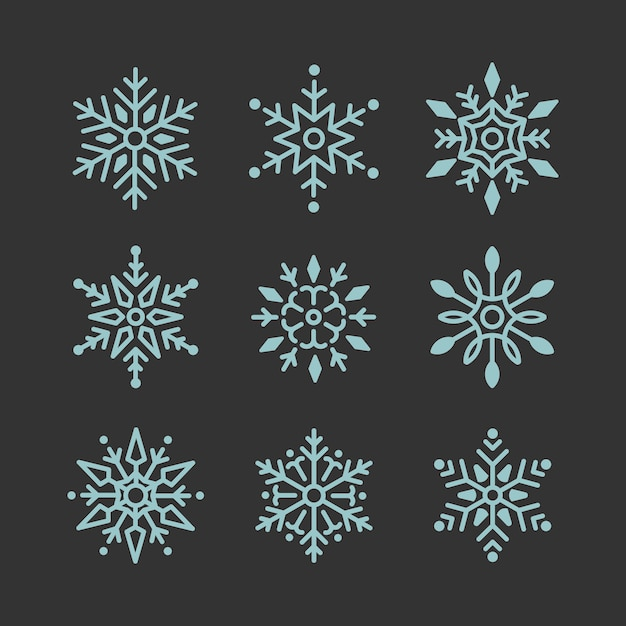 Set of snowflakes christmas design vector Free Vector