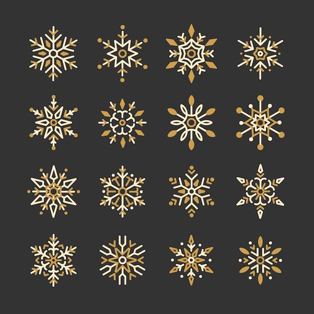 Set of snowflakes christmas design vector Free Vector